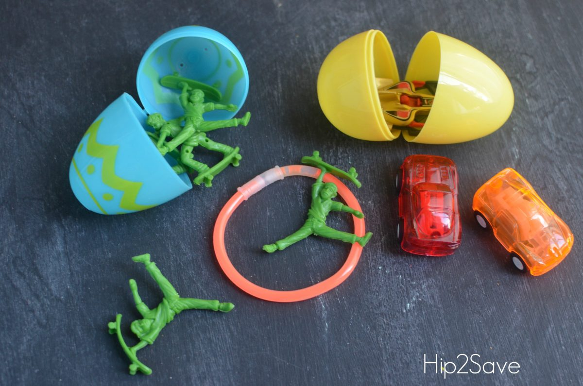 Small toys, cars, and glow sticks for Easter Eggs