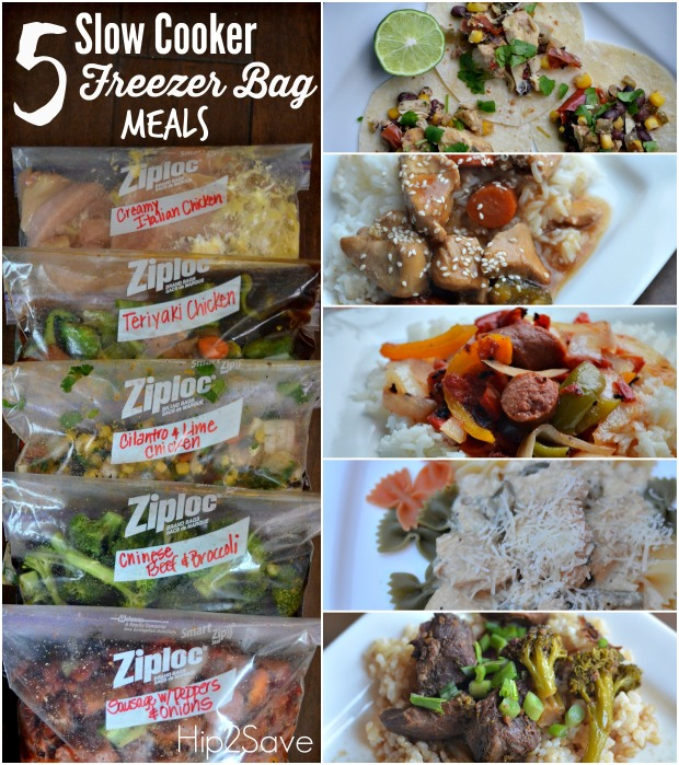 Five Slow Cooker Freezer Bag Meals (Make 5 Meals in Just One Hour)