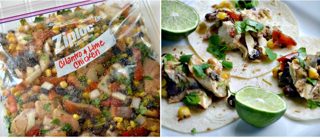 freezer bag meal with cilantro lime chicken