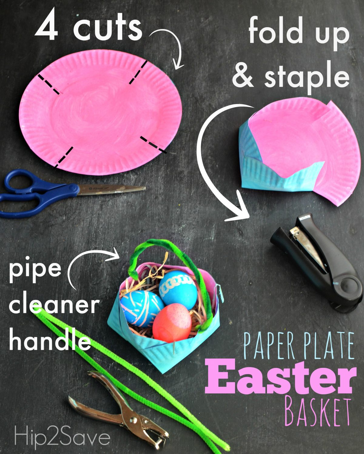 How to make an Easter basket out of a paper plate