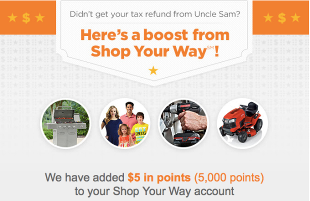 Shop Your Way Rewards Members: Possible FREE Bonus Points (Check Your Inbox)