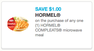 New 1 Hormel Compleats Microwave Meals Coupon Only