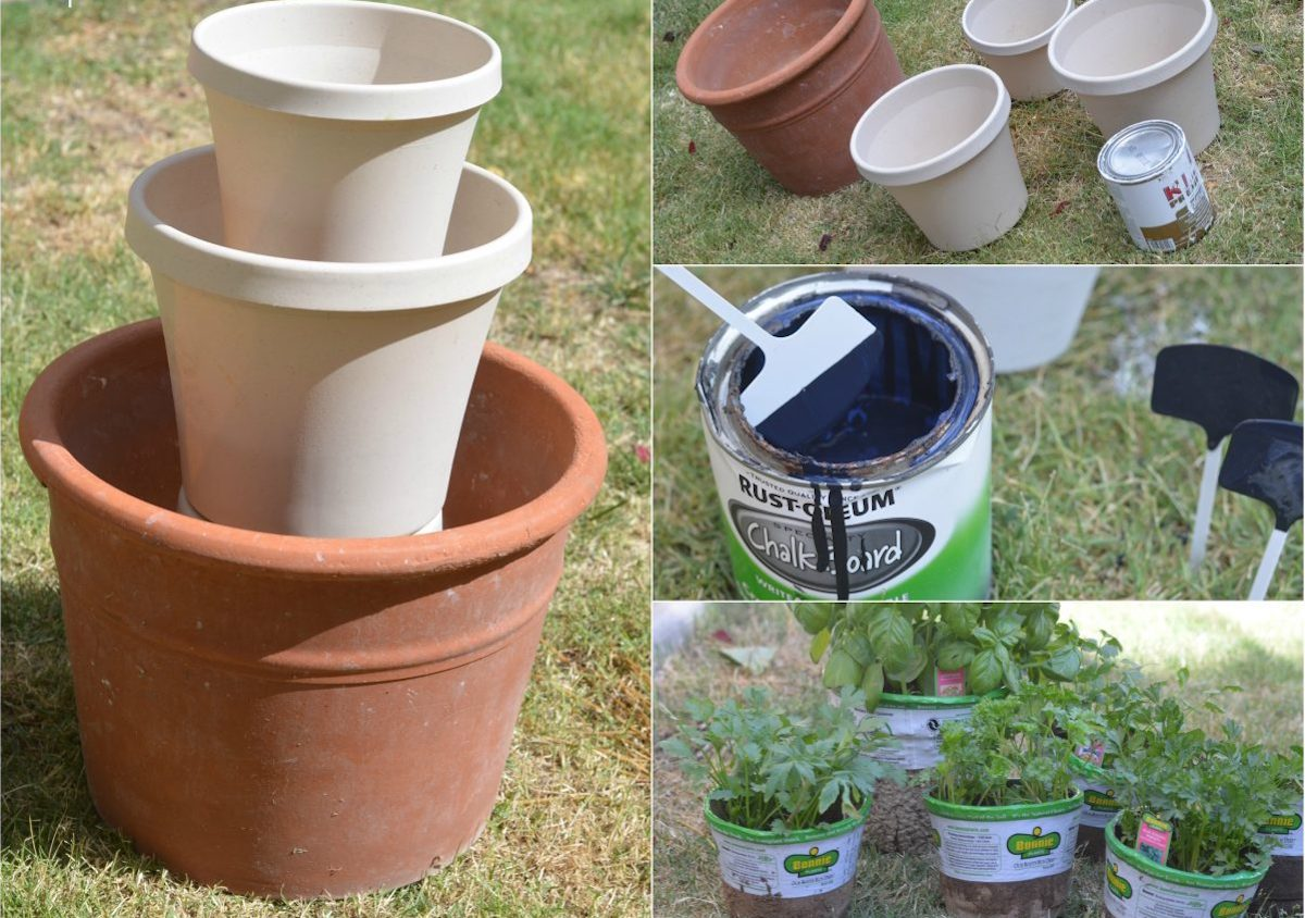 collage of photos showing how to put together and make a stacked planter