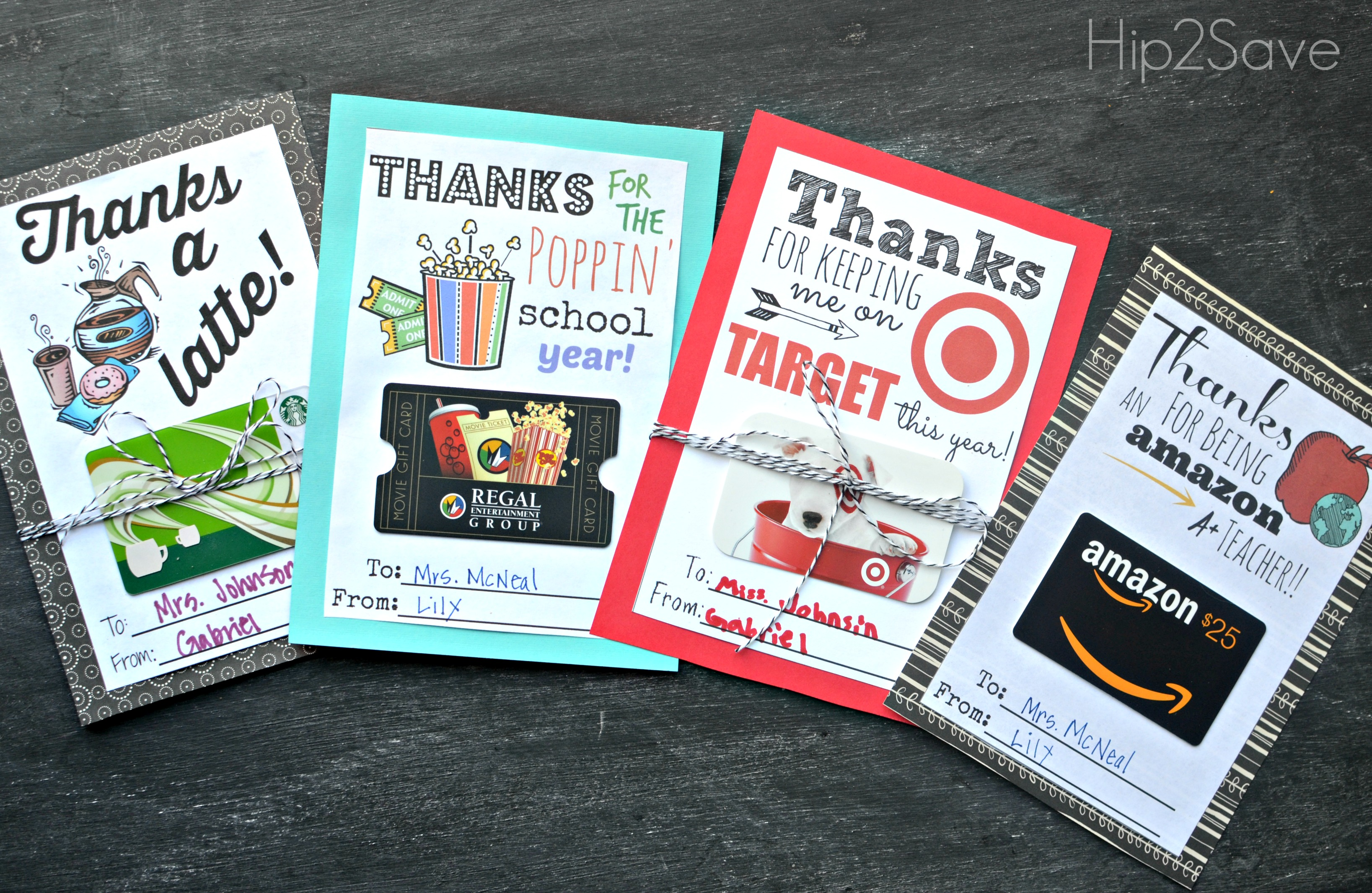 row of 4 free printable gift card gifts for teachers
