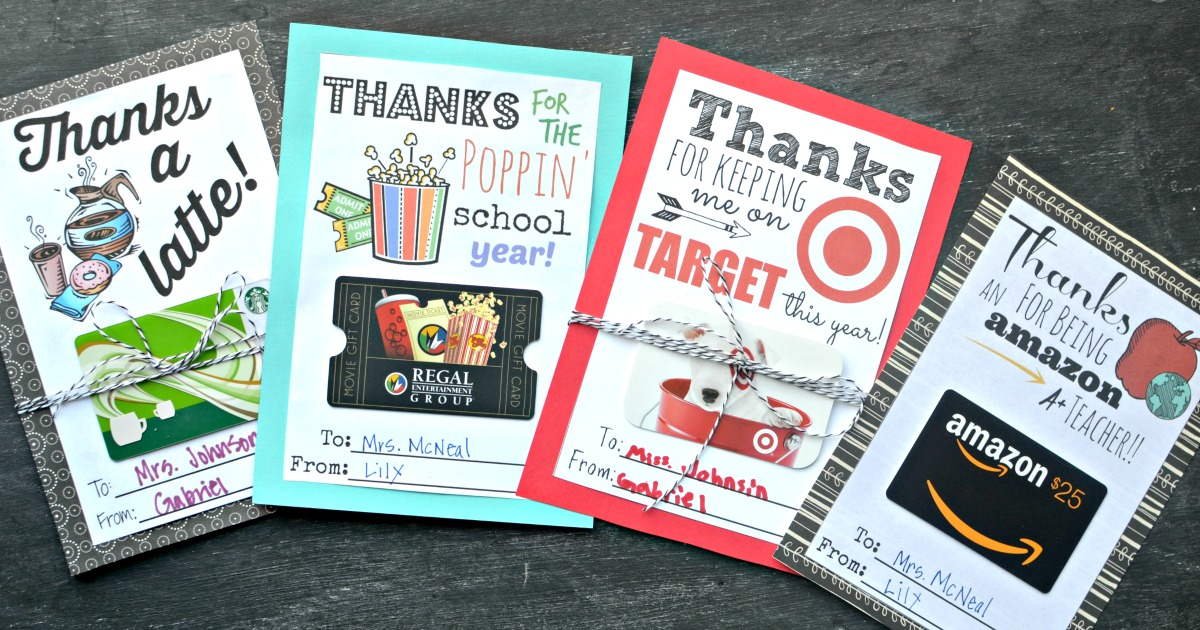 printable gift card holder for teachers