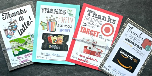FREE Printable Gift Card Holders for Teacher Gifts
