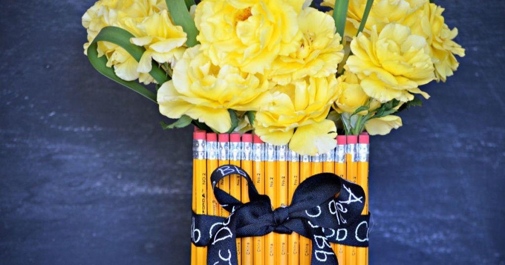 DIY teacher pencil vase gift