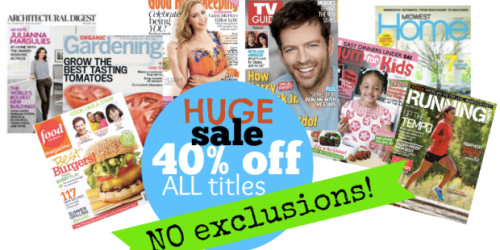*HOT* 40% Off Every Magazine Subscription at Discount Mags – 4 Hours Only (Enter Code FLASH40)