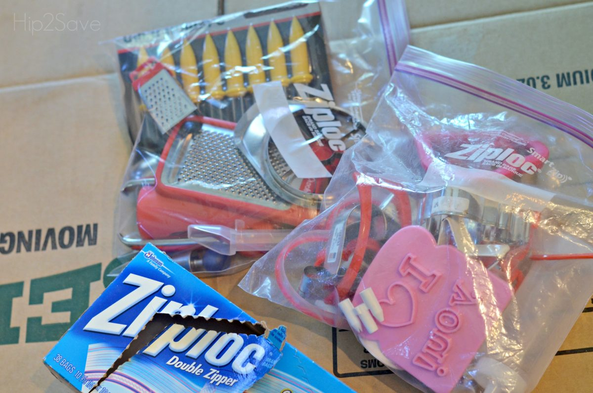 Put smaller kitchen and bathroom drawers items in large Ziploc Bags