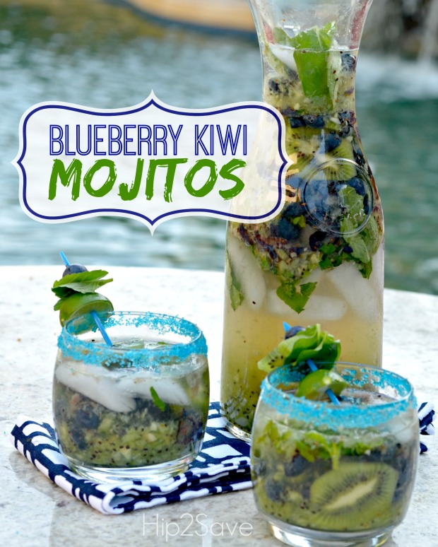 Blueberry Kiwi Mojitos Recipe (Alcoholic AND Non-Alcoholic Versions)