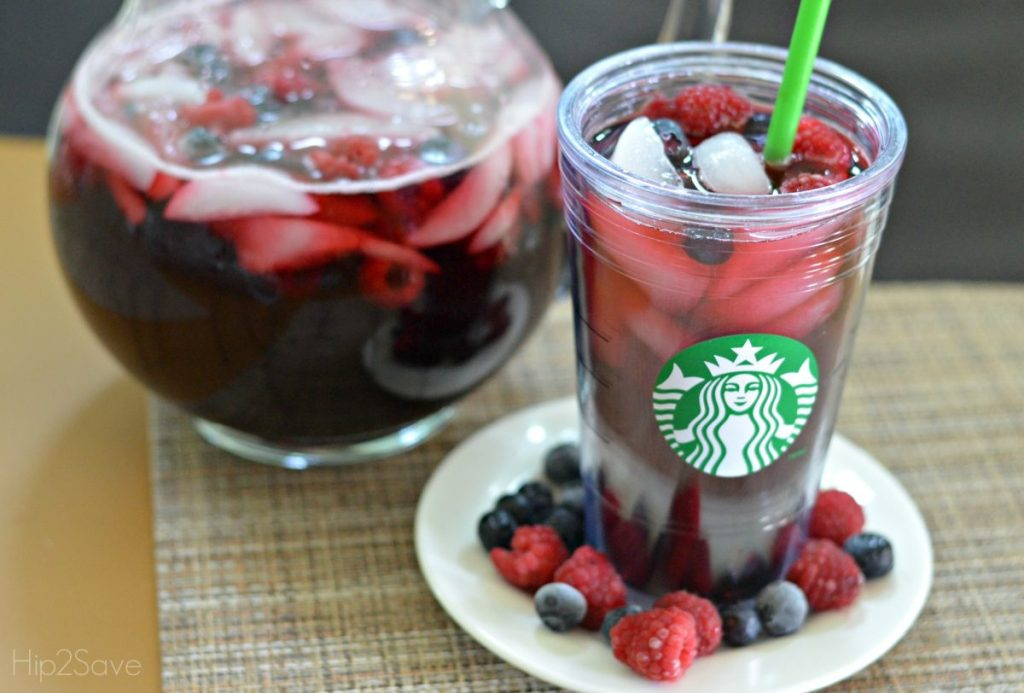 Starbucks inspired tea refresher in cup with berries