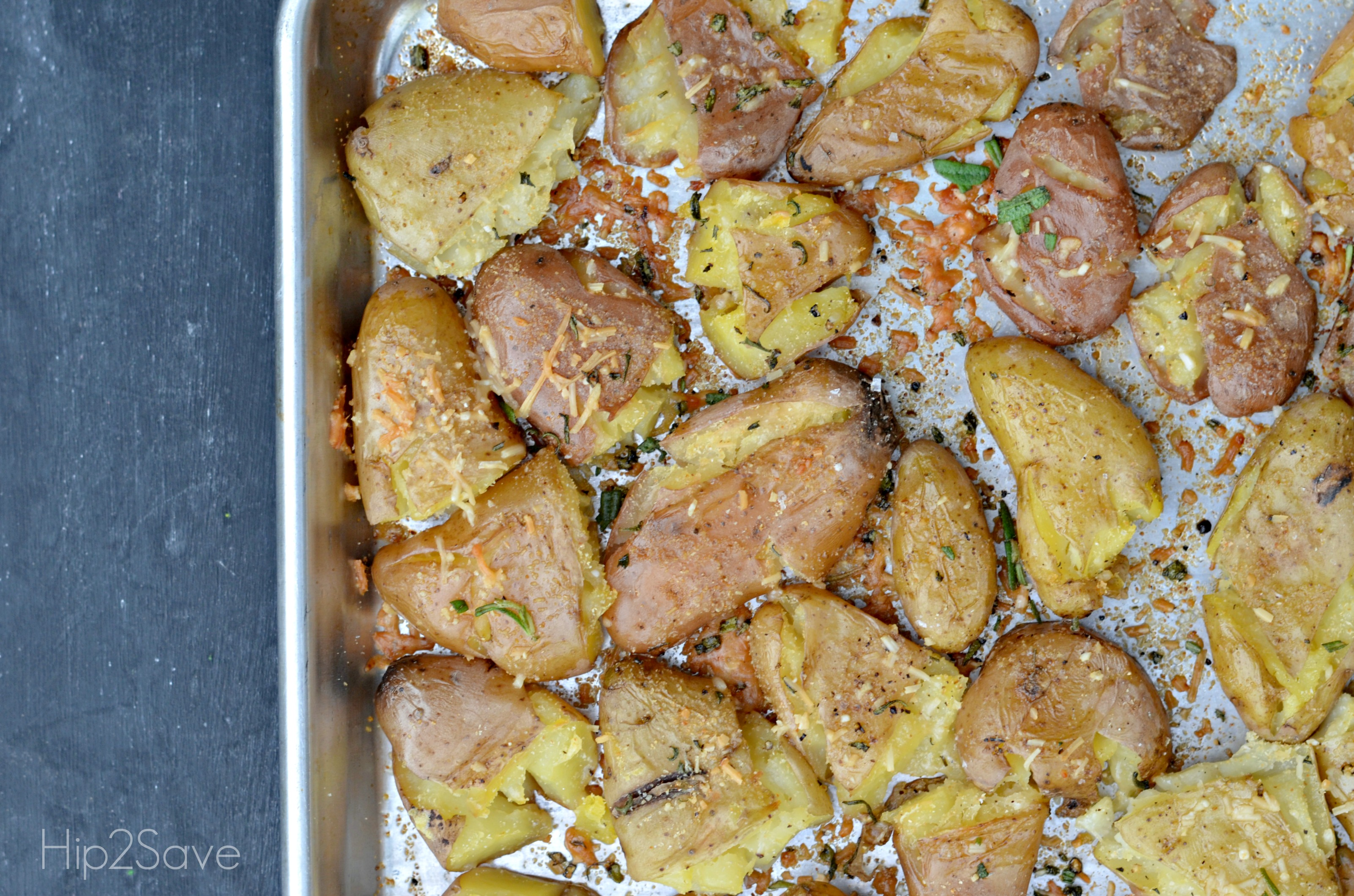 Parmesan Rosemary Smashed Potatoes Hip2Save