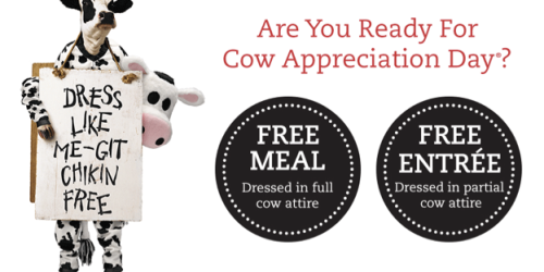 Chick-fil-A Cow Appreciation Day: Dress Up in Cow Attire = FREE Meal or Entree (TOMORROW 7/14)