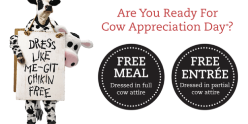 Chick-fil-A Cow Appreciation Day: Dress Up in Cow Attire = FREE Meal or Entree (July 11th)