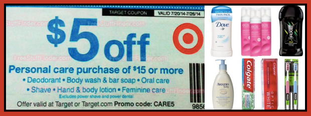 Target 5 Off 15 Personal Care Purchase Coupon Starts 7 20 Get Your Coupons Printed Clipped 10 Off 50 Home Purchase Coupon Hip2save