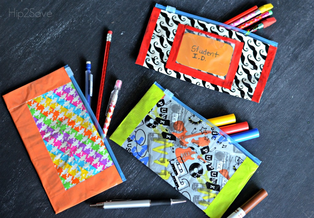 making diy duct tape pencil pouches
