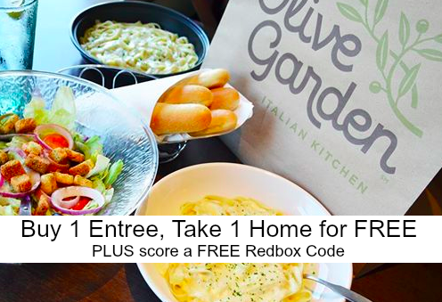 Olive Garden Buy One Entree Take One Home For Free Score A Free 1 Night Redbox Code
