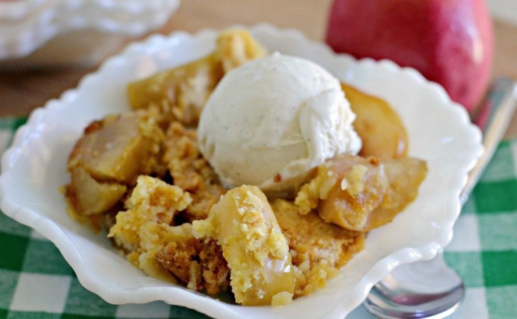 apple dump cake with scoop of ice cream