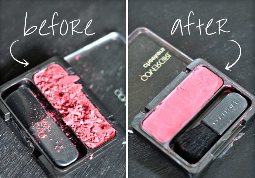 before and after of pink makeup broken vs fixed
