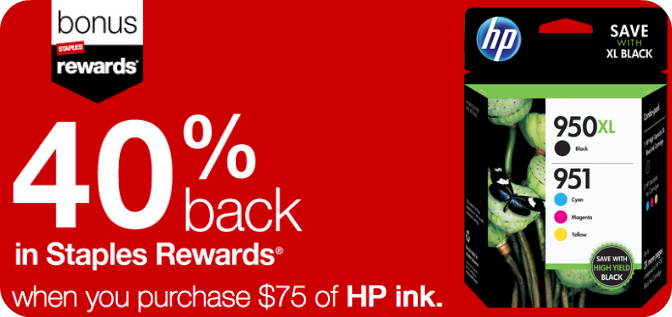 staples rewards members  get 40  back in rewards with  75 hp ink purchase  thru 9  27