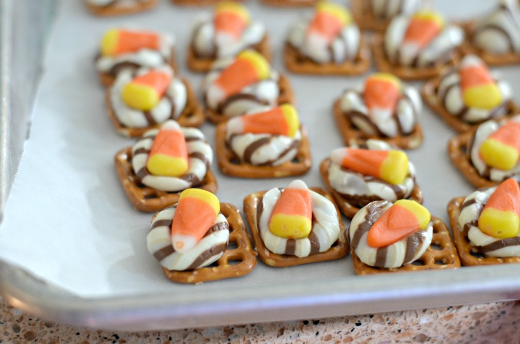 tray of candy corn and Hershey's hug pretzels