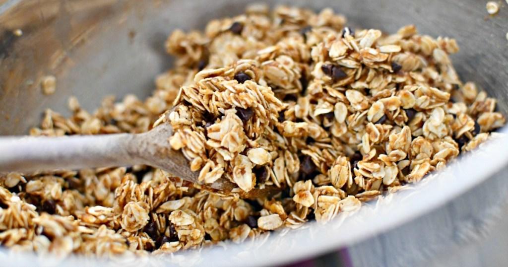 granola bars in mixing bowl