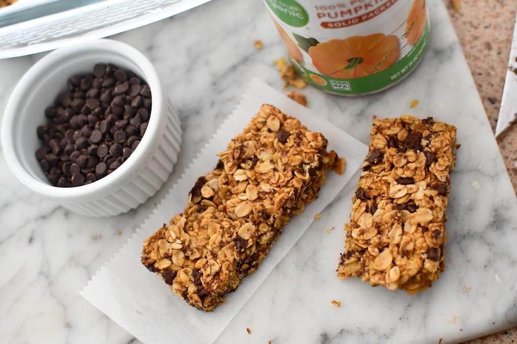 pumpkin chocolate chip granola bars on counter