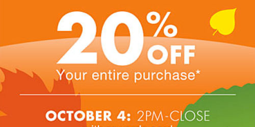 Big Lots: 20% Off Your ENTIRE Purchase (Valid on 10/4 for Buzz Club Members or 10/5 for Everyone)