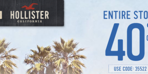 Hollister: Extra 40% Off Entire Online Store + Free Shipping (No Minimum) = Nice Deals