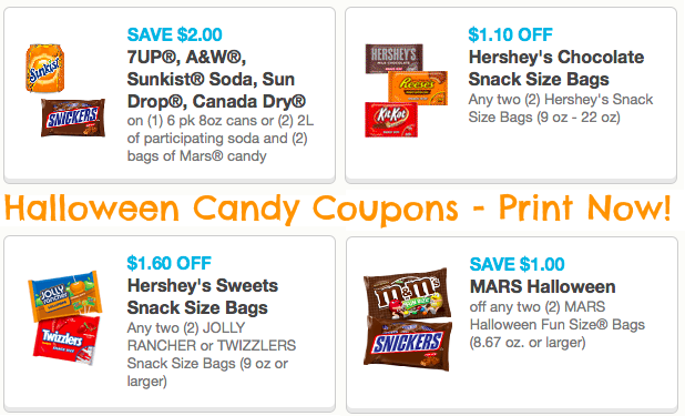 image regarding Printable Candy Coupons titled Halloween Sweet Printable Coupon codes (Reset!) \u003d Outstanding Discounts at