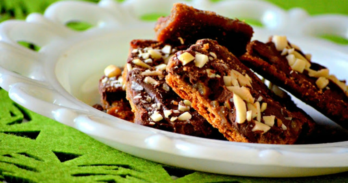 homemade almond roca easy holiday treat – closeup on a plate