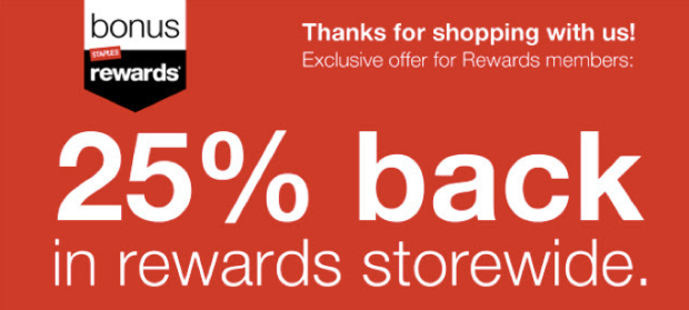 staples  25  back in staples rewards storewide valid through 11  22  check inbox