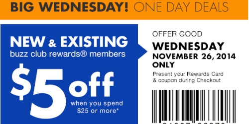 Big Lots: $5 off $25 Purchase for Buzz Club Members (Tomorrow, 11/26 Only!)