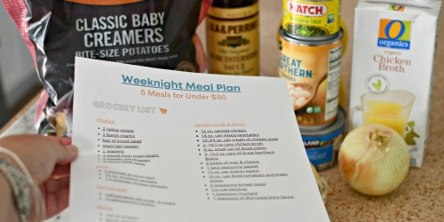 Make 5 Weeknight Meals for Under $50 | Free Meal Plan & Printable Grocery List