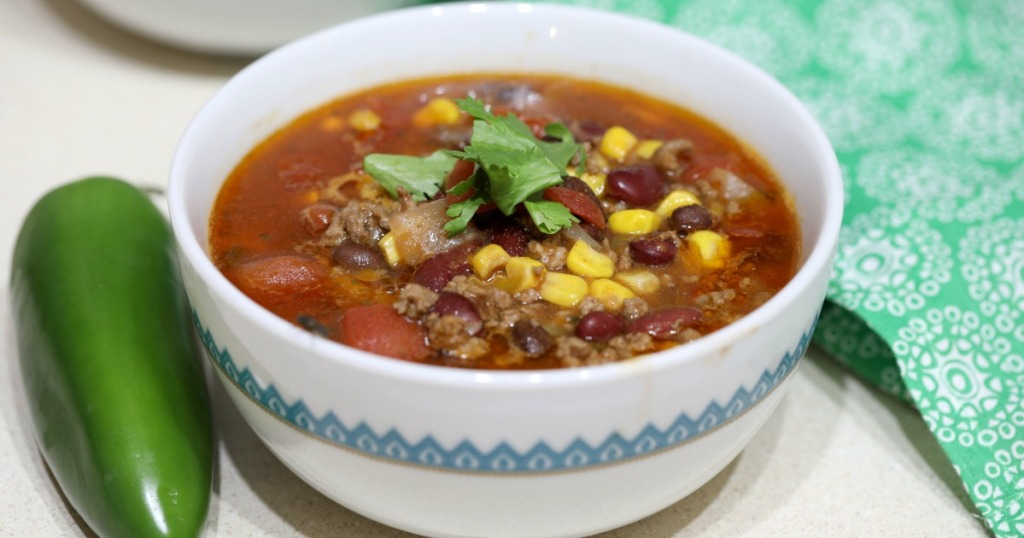 bowl of slow cooker taco soup