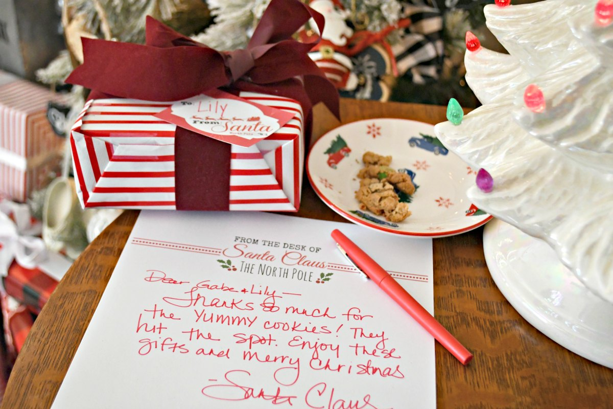 presents wrapped and a letter from Santa