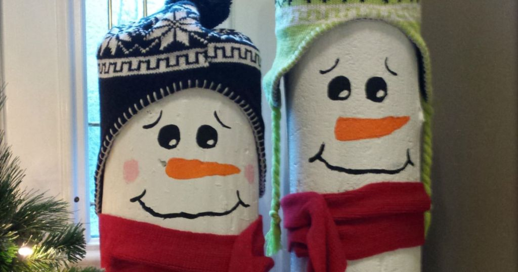 painted log snowman diy