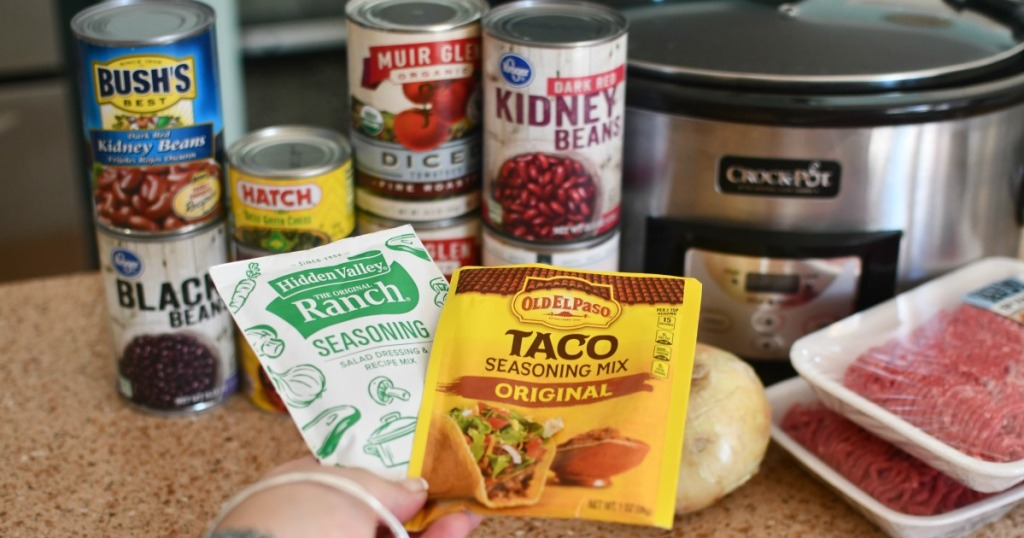 pantry ingredients fro ranch taco soup on the counter
