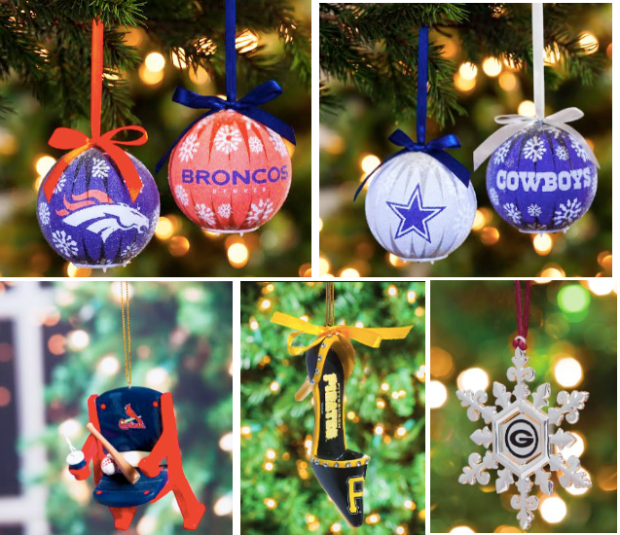 40 off nfl mlb nba nhl and ncaa ornaments free shipping great gifts for sports fans hip2save