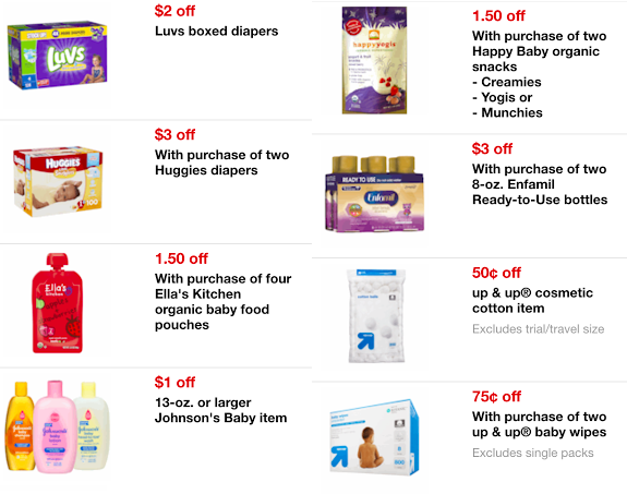 Target: New Baby Mobile Coupons (Save on Huggies, Luvs, Ella's Kitchen, Johnson's Baby & More!)