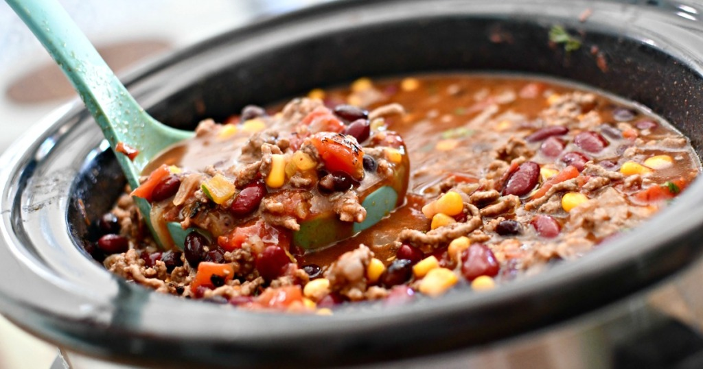 slow cooker with spoonful of ranch taco soup
