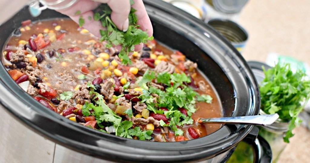 taco soup adding cilantro