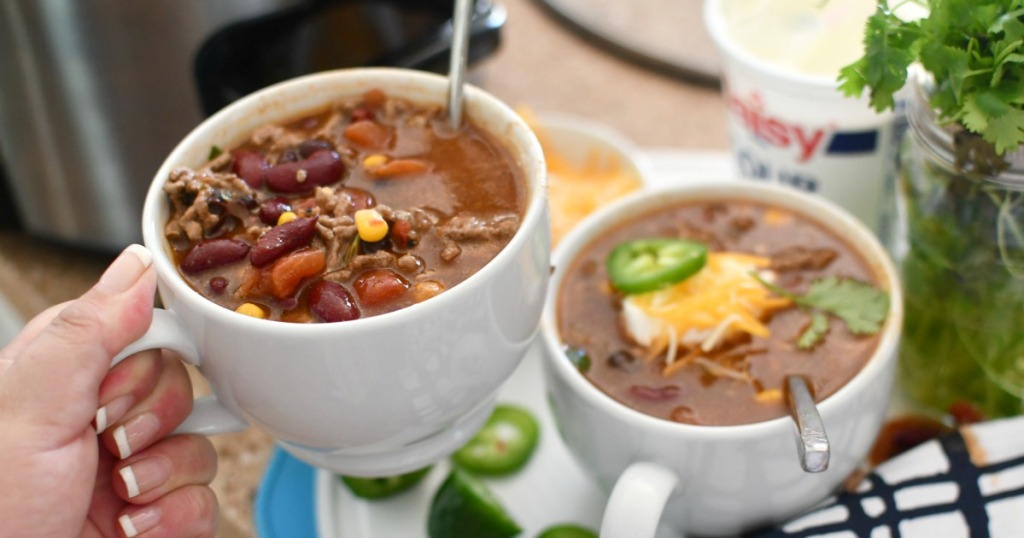 two cups of slow cooker taco ranch soup