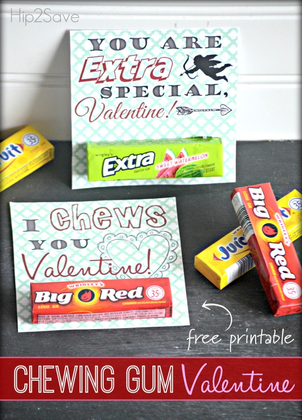 Chewing Gum Valentine's Day Cards (Free Printables)