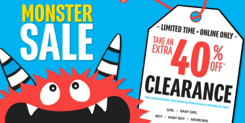 0b8e1038e Just a reminder to head over to The Children's Place.com where they are  still hosting a Monster Sale and are offering up an additional 40% off  Clearance ...