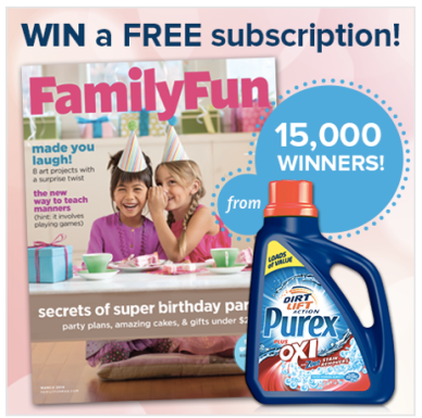Purex Sweepstakes: 15,000 Win FREE One Year Subscription to Family
