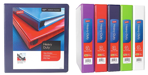 staples com 1 1 2 heavy duty view binder with d rings only 1