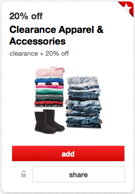 eede2f115b7 Headed to Target  Load a new Target Cartwheel Offer valid for an additional  20% off Clearance-Ticketed Apparel