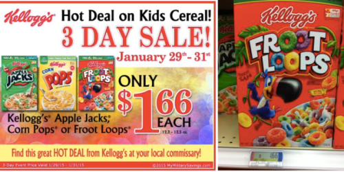 Commissary 3 Day Sale: Kellogg's Kids Cereal Only $1.66 – As Low As 66¢ After Coupon