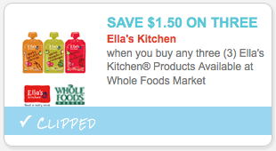All you Target shoppers may want to hop on over to Coupons.com and enter the zip code 77477 to print a new $1/3 Ella's Kitchen Pouches coupon!